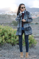 crimson vintage bag - heather gray Primark coat - navy Armany jeans