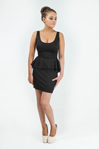 Sara Black Peplum ZiP vest Dress