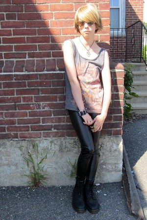 black wet look Forever21 pants - black thrifted Dr Martens boots