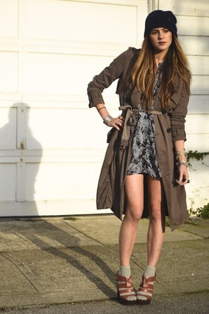 burnt orange asos shoes - gray sheer shirt LF dress - brown trench Eryn Brinie c