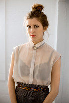 silver sheer asos blouse - brown leopard belt