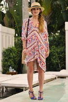 orange caftan Rachel Pally dress - tan H&M hat - blue Sergio Rossi heels