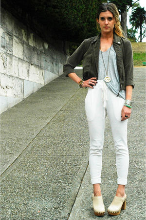 white Urban Outfitters pants - silver t by alexander wang shirt - green jacket -