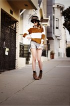 light brown Candela shoes - black vintage hat