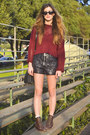 Dark-brown-loafer-style-matiko-boots-brick-red-cropped-knit-lf-sweater-black