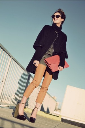 black cape coat Nine West jacket - army green wedges Theyskens Theory shoes