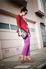 Light-orange-miu-miu-shoes-red-lulus-blazer-pink-jcrew-pants