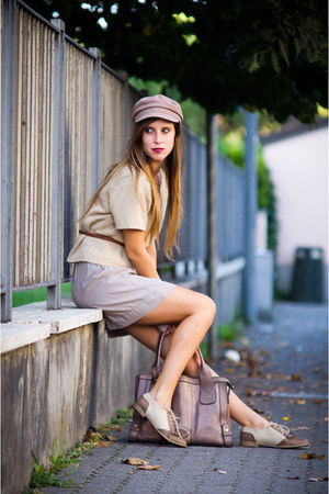 beige moony mood shoes - camel Accessorize hat - beige mt grandmother sweater