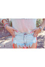 Light-blue-denim-shorts-one-teaspoon-shorts-off-white-knitted-love-jumper