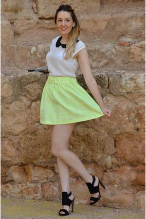 light yellow Zara skirt - black Zara heels - white BLANCO blouse