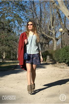 aquamarine Stradivarius sweater - camel Mustang boots - blue Stradivarius dress