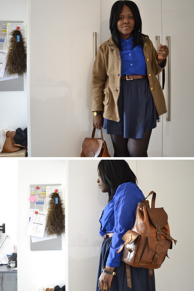 brown vintage jacket - blue H&amp;M shirt - dark brown Morocco bag - navy H&amp;M skirt 