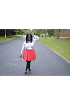 fushia River Island skirt - brown barratts shoes - white H&M shirt