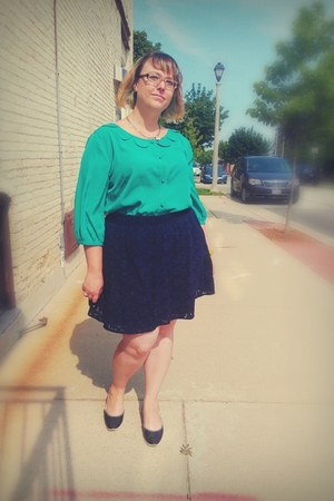 green modcloth blouse - black Fluevog shoes - navy lace Target skirt