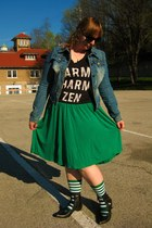 green sockdreams socks - black Fluevog boots - blue JouJou jacket - green skirt
