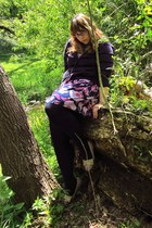 camel Soda shoes - amethyst Anthropologie dress - navy HUE tights