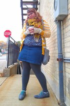 gold Wet Seal cardigan - periwinkle Fluevog shoes