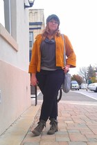 mustard LAL jacket - light brown Nine West boots - army green H&M hat
