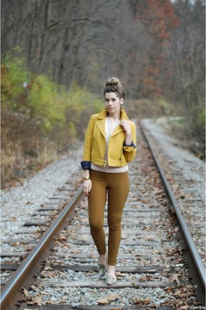 mustard modcloth jacket - light pink vintage top - tawny American Apparel pants