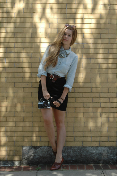 blue JCrew shirt - black vintage skirt - brown vintage belt - brown vintage shoe