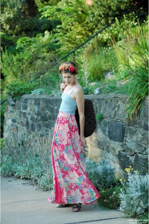 coral Lulus skirt - dark brown Ruche bag - gray Blowfish sandals