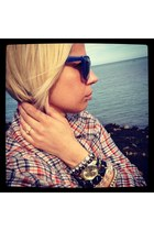 new look watch - blue Primark sunglasses - new look bracelet - new look bracelet