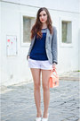 heather gray Zara blazer - peach H&M bag - white Terranova shorts