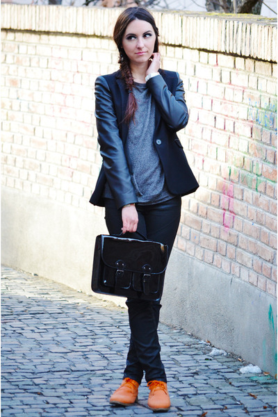 black Zara Trf jeans - black Zara blazer - black H&M bag