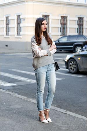 Zara jacket - Orsay jeans - Zara heels - H&M sweatshirt - Michael Kors watch
