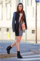 heather gray H&M dress - black Zara blazer - coral H&M bag