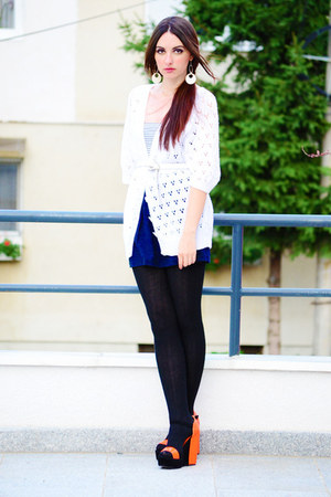 white white vintage cardigan - navy summer random brand dress