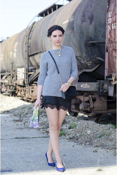 heather gray Zara sweater - black H&M bag - black Zara skirt - navy Zara heels