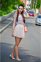 cream lace H&M skirt - H&M bag