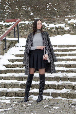 Zara boots - Zara sweater - H&M purse - Zara skirt
