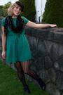 Green-h-m-dress-black-hue-tights-black-deena-ozzy-shoes-black-calvin-klein