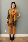 Brown-ankle-boots-animal-print-coat-orange-tights-emroidered-silk-scarf