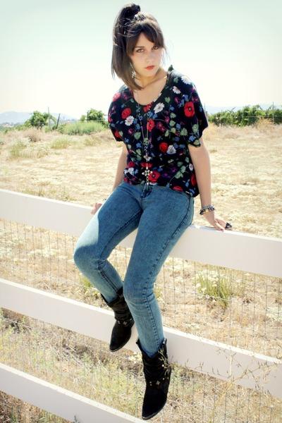 floral shirt shirt - boots - jeans - cross necklace necklace