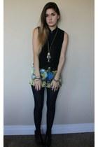 snake bracelet - baroque print shorts - top - gold fish necklace