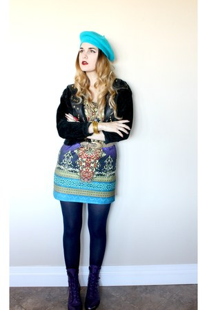 purple roper boots - baroque print dress - teal beret hat - cropped biker jacket
