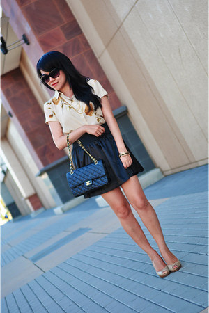 black Forever 21 skirt - black Chanel purse - black Michael Kors sunglasses