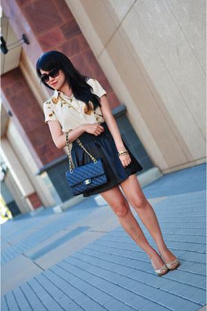 black Forever 21 skirt - black Chanel purse - black Michael Kors sunglasses