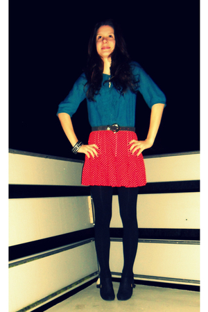 Topshop blouse - vintage skirt - H&M shoes - vintage accessories