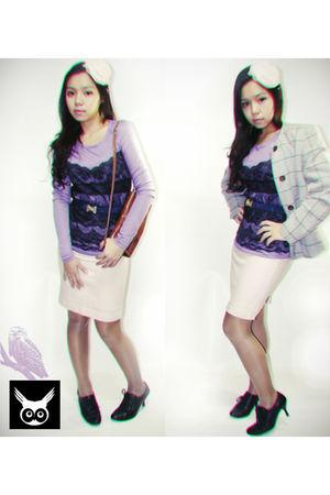 beige vintage accessories - brown vintage bag - silver vintage coat - purple vin