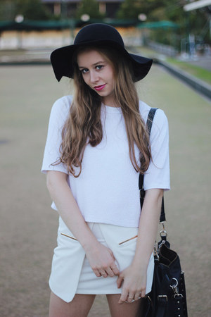 white shirt blouse Topshop shirt - black hat felt hat Mimi & Flo hat