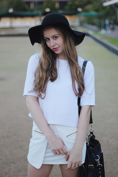 white shirt blouse Topshop shirt - black hat felt hat Mimi & Flo hat