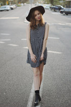 black Mimi and Flo hat - black ankle boots Lipstik boots - black OASAP dress