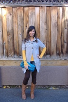 yellow abercrombie and fitch shirt - INC shorts - brown Express leggings - gray