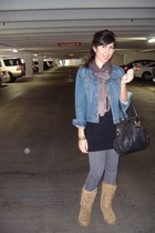 black XX1 dress - gray Express leggings - beige Uggs shoes - Gap jacket - XX1 sc
