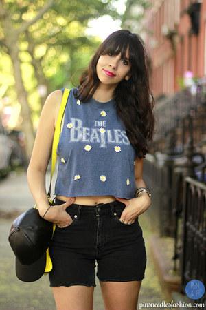 sky blue LF t-shirt - gray Vans shoes - black Target hat - yellow kate spade bag