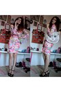Hot-pink-body-con-barbie-dress-ivory-cat-bag-black-strappy-k-mart-heels